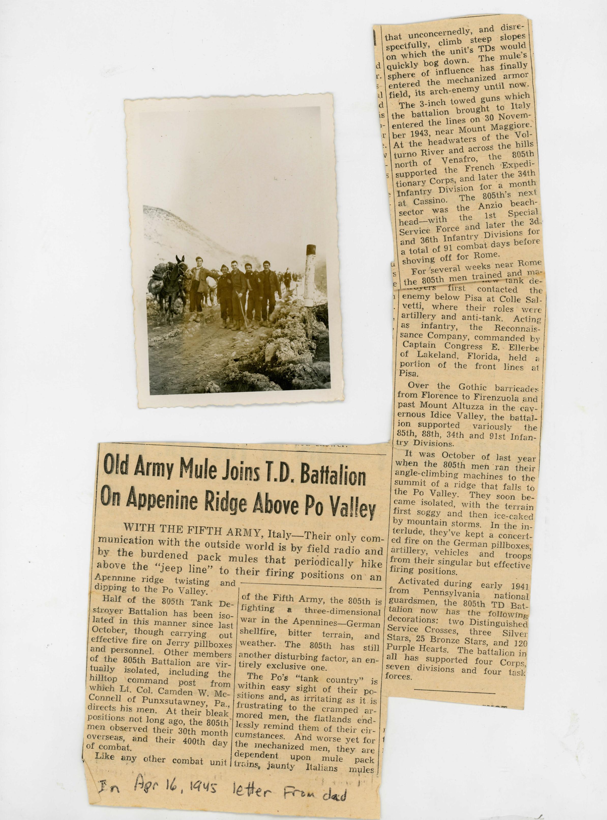 Newspaper mules 1945